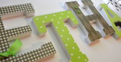 Baby Nursery Wall Letters -CHOCOLATE AND LIME Theme-avail in any size or font in this shop. $7.50, via Etsy.