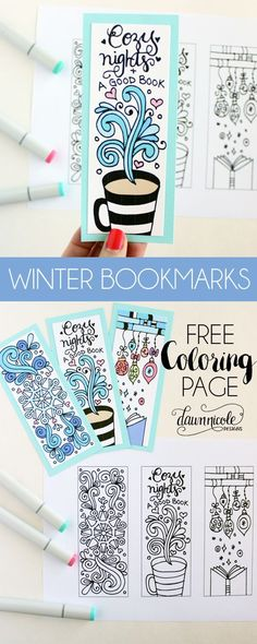 NEW DESIGNS! Free Winter Bookmarks Coloring Page + A Wintery Printable Blog Hop with some of my bloggy friends! dawnnicoledesigns.com