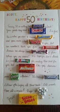 46 New Ideas For Birthday Poster Board Ideas Candy Bars Birthday Candy Posters, 50th Birthday Cards, Happy 50th Birthday, 60th Birthday Party, 50th Birthday Ideas For Mom, 50th Party, Best 50th Birthday Gifts, 50th Birthday Celebration Ideas, Fiftieth Birthday