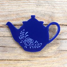 Teapot brooch  etched laser cut acrylic by sugarandvicedesigns