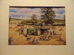 Vintage John Deere Tractor, busy haymaking. Available as 10″ x 8″ Mounted Print. $5.50 plus p+p.