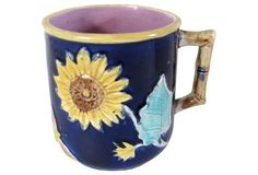 Antique Majolica Sunflower Mug