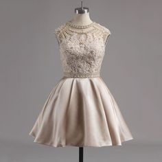 Jewel Neck Nude Satin Homecoming Dress with Lace