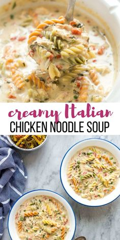 This Creamy Italian Slow Cooker Chicken Noodle Soup is even better than the original! With garlic, spinach, roasted red pepper and a touch of cream and Parmesan it is hearty and flavorful!  #slowcooker #recipe #crockpot #soup #chicken #recipe #dinner Crockpot Chicken Noodle Soup | slow cooker meal | crockpot meal How To Cook Broccoli, How To Cook Pork, Cheeseburger Chowder, Curry, Dinner Recipes, Soup, Cooking, Ethnic Recipes, Ideas