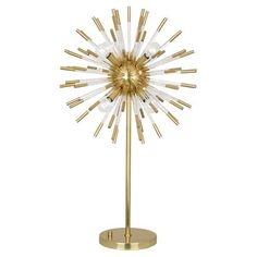 Robert Abbey 1202 Andromeda Modern Brass w/ Clear Acrylic Accents 33 in. Eight-Light Table Lamp in Modern Brass/Clear Acrylic Accents Brass Table Lamps, Brass Lamp, Acrylic Rod, Clear Acrylic, Light Table, A Table, Gold Table, Robert Abbey Lighting, Contemporary Table Lamps
