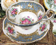 FOLEY TEA CUP AND SAUCER MONTROSE PATTERN BIRDS TEACUP WITH ROSES