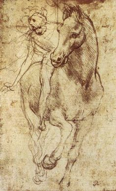 Leonardo da Vinci manages to capture the magnificent motion of a renaissance horse and rider in this stunning sketch. Add vigor to your decor with this adventurous print created by the most famous ren Figure Drawing, Painting & Drawing, Drawing Sketches, Art Drawings, Renaissance Kunst, Leonardo Da Vinci Renaissance, Equine Art, Horse Art, Art History
