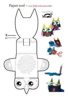 printables for kids Owl Crafts, Animal Crafts, Crafts To Do, Crafts For Kids, Arts And Crafts, Paper Crafts, Paper Owls, Paper Art, Projects For Kids