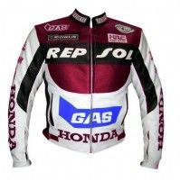 Honda Gas Repsol Red White motorcycle Leather Jacket