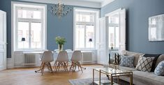 A blue home in Stockholm via ESNY Home Living Room, Living Spaces, Room Wall Colors, Wall Colours, Gravity Home, Classic Interior, Shabby Chic Homes, Blue Walls, Dining Room Design