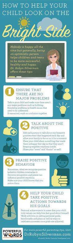 How to help your child look on the #BrightSide #PowerfulWord #Optimism http://www.drrobynsilverman.com/