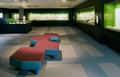 Geometric flooring pattern using Bolon Studio tiles in The British Library in London