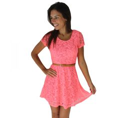 Bright Pink Short Sleeve Floral Lace Dress