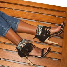 Fringe Heels w/ Aztec Print Excellent condition. Worn once. NO TRADES. Shoe Dazzle Shoes Heels