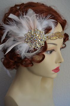 SOLD: Blush and Gold, Feather fascinator has an alligator clip and headpiece has blush satin ribbon ties. They can be worn together or on their own. A perfect combination of blush and ivory hues.