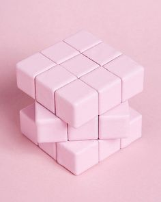 #art #pink #cube #minimal #puzzled