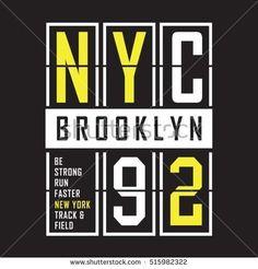 Brooklyn sport run typography, t-shirt graphics, vectors