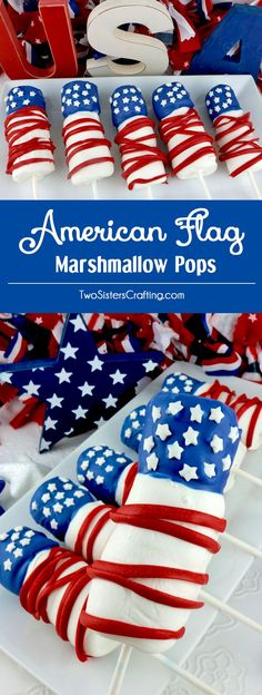 American Flag Marshmallow Pops are a unique and delicious of July treats. So easy to make and you wont believe how delicious this Red White and Blue is to eat. They would be a fun Fourth of July dessert for a of July Party, a Memorial Day BBQ or ev 4th Of July Desserts, Fourth Of July Food, 4th Of July Celebration, 4th Of July Party, July 4th, 4. Juli Party, Banana Split Dessert, Pokemon, Bulletins