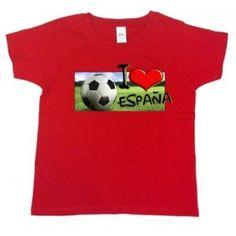DiverBebe - Camiseta Bebé Niño/Niña I Love España Con Fondo - Color : Rojo #camiseta #friki #moda #regalo
