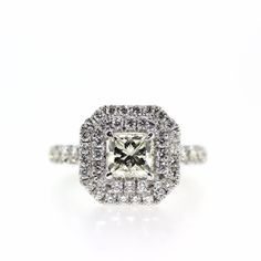 EGL Certified 18k White gold Natural VS-1 Princess Diamond double HALO ring 2.14 #EGLCertified #HALO