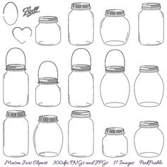 Mason Jars Clipart Clip Art Commercial and Personal by PinkPueblo, $ 6.00