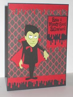 vampire halloween card using Cricut Happy Hauntings cartidge and Martha Stewart border punch and paper cricut halloween ideas Cricut Halloween Cards, Halloween Paper Crafts, Halloween Scrapbook, Halloween Invitations, Cricut Cards, Halloween Christmas, Spooky Halloween, Halloween Ideas, Happy Halloween
