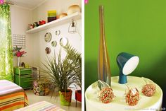 Accessoires et mise en couleur pour une chambre à la décoration exotique. #maisoncreative #chambre #vert #vegetal #rayures