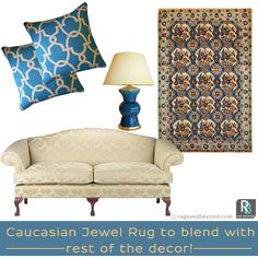 Wow! A perfect mix of Turq tones ideally matching with the rest of the decor. Shop this stunning Caucasian Rug now at Rugsandbeyond.com  #interiordesign #homedecor #onlineshopping #Rugs