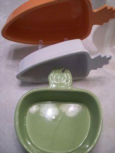 Chantal 4-Pc Set Oven Dishwasher Freezer Micro-Safe Stoneware Veggie Shapes #Chantal