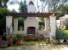 The wooden pergola is a good solution to add beauty to your garden. If you are not ready to spend thousands of dollars for building a cozy pergola then you may devise new strategies of trying out something different so that you can re Spanish Revival Home, Spanish Style Homes, Spanish House, Mission Style Homes, Spanish Colonial Decor, Spanish Backyard, Spanish Garden, Spanish Landscaping, Spanish Courtyard