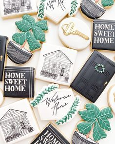 "Baked on the Island Cookie Co. on Instagram: ""Home is wherever I'm with you 🎶🏡  . . . . Cutters are from @kaleidacuts and @brightoncutters  #bakedontheisland #customcookies…"" Custom Cookies, Thats The Way, Cookie Decorating, Sugar Cookies, Projects To Try, Sweet Home, Treats, Island, Baking"