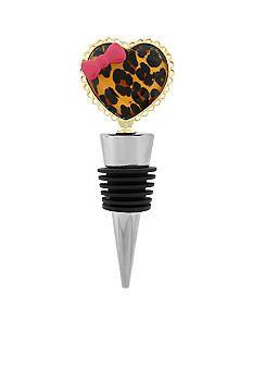 Betsey Johnson Leopard Heart Wine Stopper in a Betsey Johnson Gift Box #belk #accessories