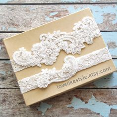 ♥♥ Please leave your wedding date when you check out ♥♥  Beautiful and lovely garter set made of pearl beaded ivory lace with 1 stretch lace. Soft and warm looking garter in ivory color. Wide lace ( keepsake ) is 7 x 2.5 and skinny one ( toss garter ) is 3.5 x 1 3/4. Please choose your thigh size and color. Your garter will ship in a lovelike gift box. If you have any question, please just convo me. Thanks :)   ♥ How to measure garter size Wrap one end of flexible measuring tape around your…