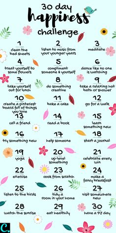 Want To Know How To Be Happy? Take This 30 Day Happiness Challenge! - Captivating Crazy Want To Know How To Be Happy? Take This 30 Day Happiness Challenge! - Captivating Crazy,Self-Care & Self-Love 30 Day Happiness Challenge Infrographic Vie Motivation, Morning Motivation, Business Motivation, Sport Motivation, Motivation Boards, Health Motivation, 30 Tag, What To Do When Bored, Things To Do When Bored For Teens