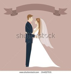 Wedding day. Bride and groom looking at each other and hugging. Wedding couple. Romantic vintage background. Ribbon with place for text. Greeting card. Vector illustration.