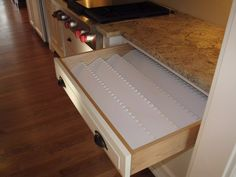 Custom White Painted Kitchen Cabinets, Utensil Drawer Detail
