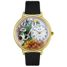 Whimsical Watches Unisex G0150017 Panda Bear Black Leather Watch Whimsical Watches. $40.99. Secure buckle-clasp. White, Panda-theme dial. Quality Japanese-quartz movement. Black Italian leather strap. Plastic crystal covering themed-dial. Save 32%!