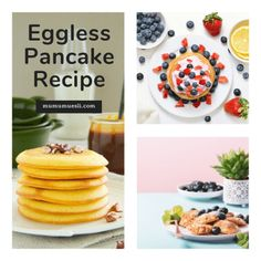 Discover the best, easiest pancake recipe without eggs or dairy, as well as a bonus healthy eating video and delicious pancake topping recipes. (Can You Make Pancakes with Almond Milk Eggless Pancake Recipe, Vegan Pancake Recipes, Gourmet Recipes, Vegan Protein Pancakes, Tasty Pancakes, Pancake Recipe Without Eggs, High Fiber Breakfast, Pancake Toppings