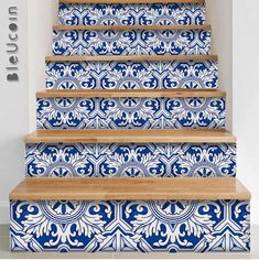 Porto StairRiser Peel Stick Vinyl Decal Self Adhesive Waterproof Easy to Trim Repositionable Removable DIY Home Decor-pack of 10 strips - DIY Wohnkultur für Mieter Ideen Tile Decals, Wall Tiles, Vinyl Decals, Vinyl Tiles, Flooring For Stairs, Design Café, Interior Design, Peel And Stick Vinyl, Stair Risers