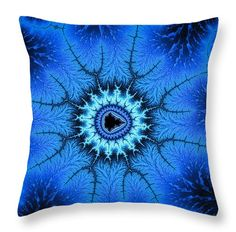 "Throw pillow - Wonderful blue relaxing abstract fractal art 14"" x 14"" All throw pillows are available in multiple sizes. (c) Matthias Hauser hauserfoto.com"