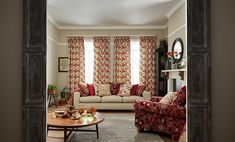Based around archive designs reminiscent of motifs from the Arts and Crafts Movement. Peter Lee, Free Fabric Samples, Curtain Patterns, Arts And Crafts Movement, Curtain Fabric, Living Area, Living Room, Home Furniture, Family Room