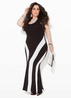 1e8ed3756e58a Ashley Stewart Colorblock Maxi Dress Black  amp  White Striped Slimming  Panel Dress  UNIQUE WOMENS FASHION Big