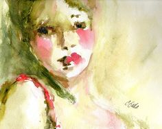 Portrait of Woman in Olive Green Pink and Red by CGallaFineArt, $18.00
