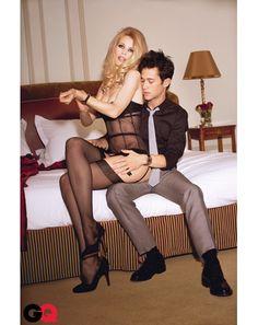 Joseph Gordom-Levitt and Claudia Schiffer April 2008 Issue , GQ
