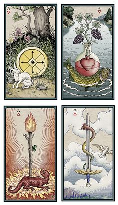 """Aces. """"The Alchemical Tarot Renewed Four"""" by Robert Place (4th edition. Reprint crowd funded)"""