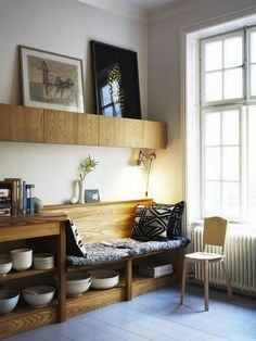 built-in bench seating windows kitchen banquette wood grain architecture home interior house design Kitchen Nook, Kitchen Seating, Kitchen Storage, Kitchen Small, Kitchen Living, Kitchen Ideas, Kitchen Benches, Cheap Kitchen, Small Dining