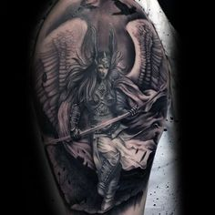 What does valkyrie tattoo mean? We have valkyrie tattoo ideas, designs, symbolism and we explain the meaning behind the tattoo. Viking Tattoos, Body Art Tattoos, Warrior Tattoos, Tattoos For Guys, Norse Mythology Tattoo, Mythology Tattoos, Valkyrie, Valkyrie Tattoo, Retro Tattoos