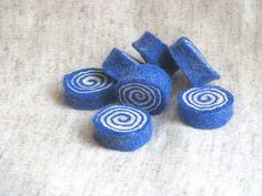 7 Handmade Felted wool spiral beads  felted rolls  by SunshineFelt, $10.00