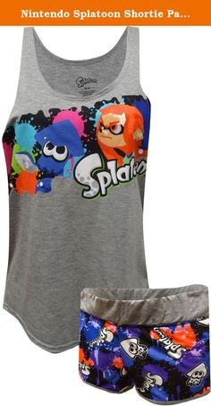 Nintendo Splatoon Shortie Pajama for women (Medium). Awesome! This pj set for women features Nintendo's Splatoon characters. Updated styling on this slouchy tank looks great. The tank is longer in the back than the front. The wide elastic waist shorts have the Splatoon squid and gray piping details. Machine washable, junior cut.