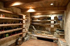 Wine cellar - Could be combined with a root cellar. At least I hope so. Beer Cellar, Root Cellar, Wine Cellar Basement, Home Wine Cellars, Cellar Design, Cigar Room, Caves, Italian Wine, Wine Storage